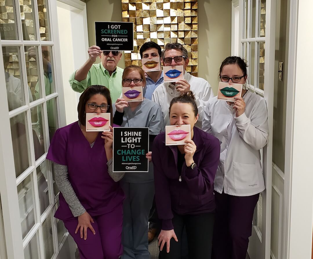 Oral cancer screening IOM team with props April 2019
